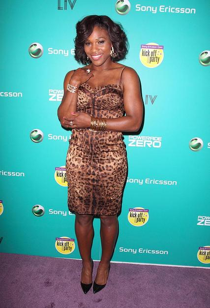 Tennis ace Serena Williams delivered some ferociousness in a cheetah print cocktail frock and black heels.