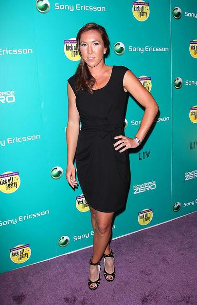 Serbian sensation Jelena Jankovic popped a pose in a flattering LBD and strappy peep toes.