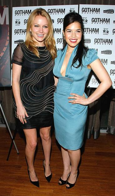 "America Ferrera celebrated her Gotham Magazine cover with costar Becki Newton at Pranna in New York City. The ""Ugly Betty"" star has never looked more beautiful!"