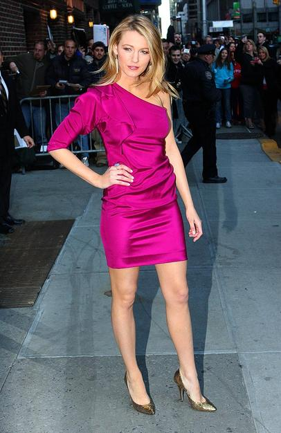 "Blake Lively dressed to impress for a recent appearance on ""Late Show With David Letterman"" in a divine Diane von Furstenberg one-shouldered frock and gold Jimmy Choo pumps."
