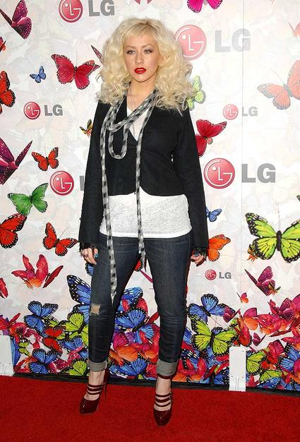 "Christina Aguilera arrived at the ""LG Rumorous Night"" party in West Hollywood, California, in a questionable ensemble."
