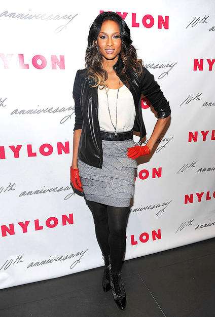 """Love Sex Magic"" songstress Ciara looked better than ever at Nylon magazine's 10th anniversary party in a supercute 3.1 Phillip Lim layered skirt, ivory blouse, black leather jacket, dark tights, and ripe red gloves"