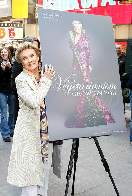 Cloris Leachman unveiled her new PETA poster in Times Square on Tuesday. The veteran actress-turned-reality star donned a gown sculpted entirely from vegetables for the ad.