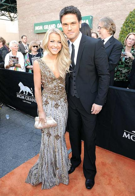 """Julianne Hough accessorized her gorgeous metallic gown with her beautiful boyfriend (and """"Dancing With the Stars"""" partner) Chuck Wicks."""