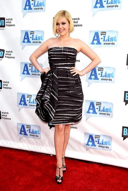 Shanna Moakler accentuated her dramatic black and white dress with smoky eyes.