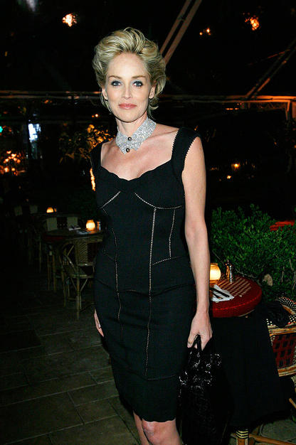 Sharon Stone proved she's still fabulous at 51 in her glittering choker and LBD.