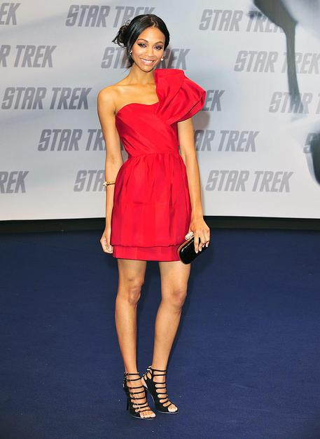 "Zoe Saldana stole the spotlight at the Berlin screening of ""Star Trek"" in a stunning asymmetrical Prabal Gurung tiered mini, yellow-gold Bulgari jewels, loose updo, and black strappy heels."