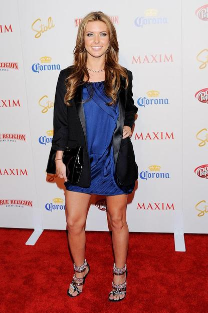 Audrina Patridge donned one of this season's most popular trends: a tuxedo coat.