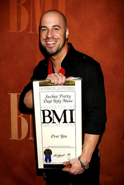 Chris Daughtry posed with his achievement award at BMI's 57th Annual Pop Awards in Beverly Hills. BMI represents all the music industry's top artists and ensures they are paid royalties from their songs.