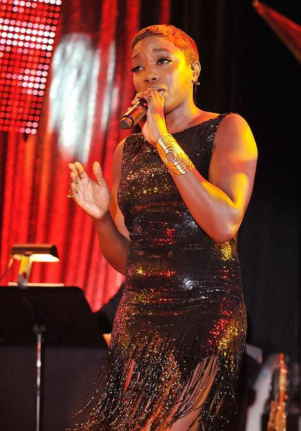 "British songstress Estelle serenaded the audience with ""Don't Leave Me This Way"" during a musical tribute to songwriters Kenneth Gamble and Leon Huff."