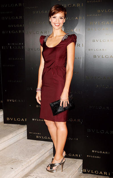 "Jessica Alba looked magnificent in a maroon Prada frock for the opening of Bulgari's retrospective exhibition ""Between Eternity and History,"" held at the Exposition Palace in Rome, Italy."