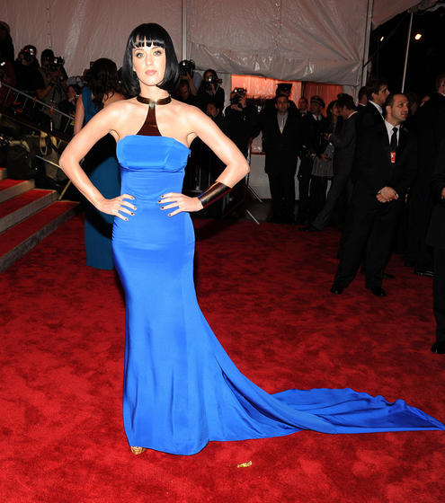 """I Kissed a Girl"" songstress Katy Perry wowed the crowd in a silk Tommy Hilfiger halter dress and Wonder Woman-inspired cuff."