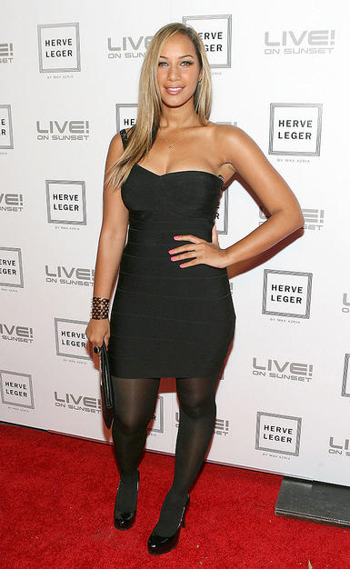 Leona Lewis punched up her LBD look with a studded cuff and sleek straight hair.