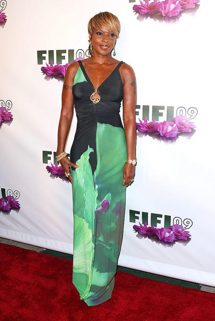 Mary J. Blige donned a watercolor maxi dress from Italian designer Roberto Cavalli.
