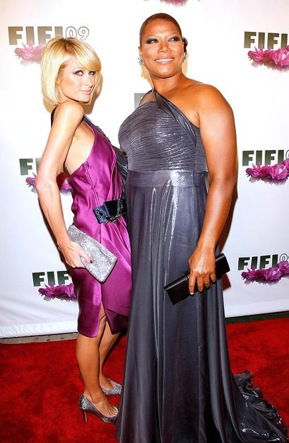 "Paris Hilton and Queen Latifah arrive at the 37th Annual Fifi Awards in New York CIty. The Fifi Awards recognize the best in the fragrance industry. Paris' Fairy Dust was named ""Female Celebrity Fragrance of the Year."""