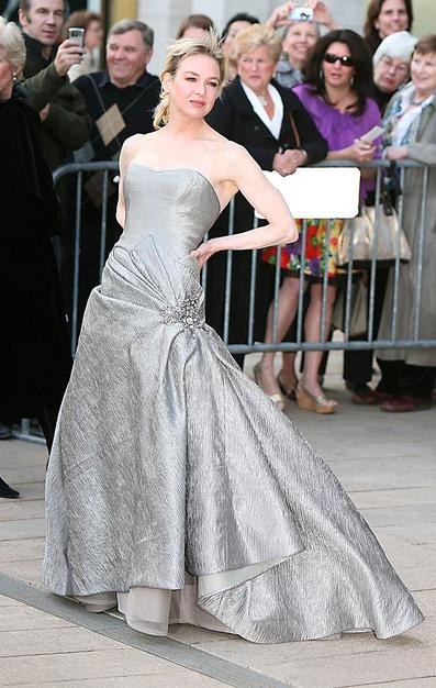 Renee Zellwegger struck a dramatic pose in a silver Carolina Herrera creation.