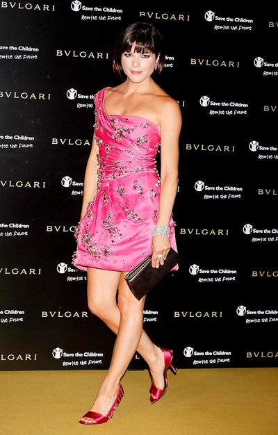 Selma Blair sparkled in a bright pink Versace mini, which was embroidered with pink and silver rhinestones.