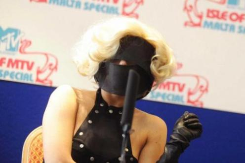 Lady Gaga looks a bit like a dominatrix in this pic. Or at least what we imagine a dominatrix looks like.