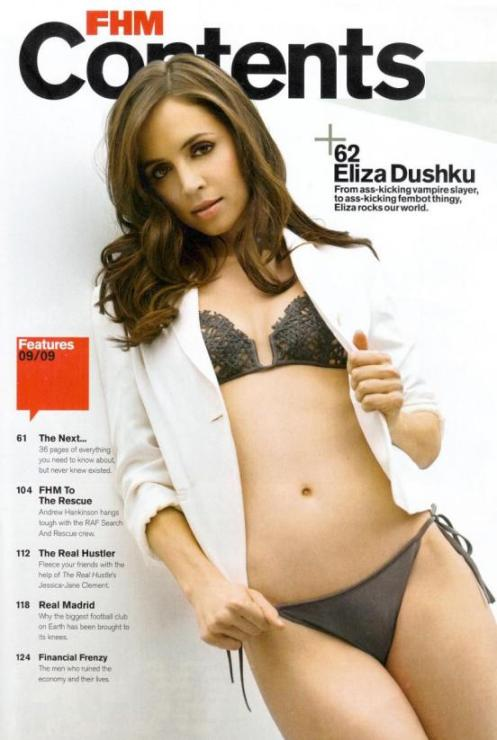 Is that a bikini, or just underwear? It's hard to say. But what is not hard to say is that Eliza Dushku looks very good in FHM.