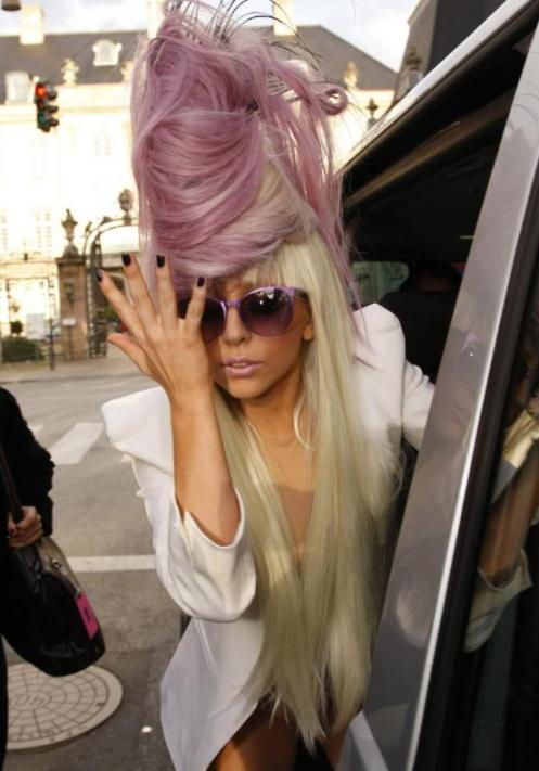 Lady Gaga rocks a pink beehive like few others ever have. This is because she is the only person to ever attempt it, but hey, there's something to be said for originality.