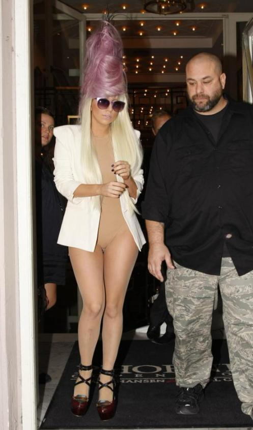 Lady Gaga in Denmark in July 2009. She is wearing one of her usual outfits, appearing sort of naked. This is par for the course.