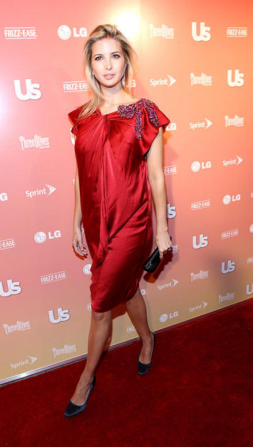 Ivanka Trump in a shapeless scarlet sheath