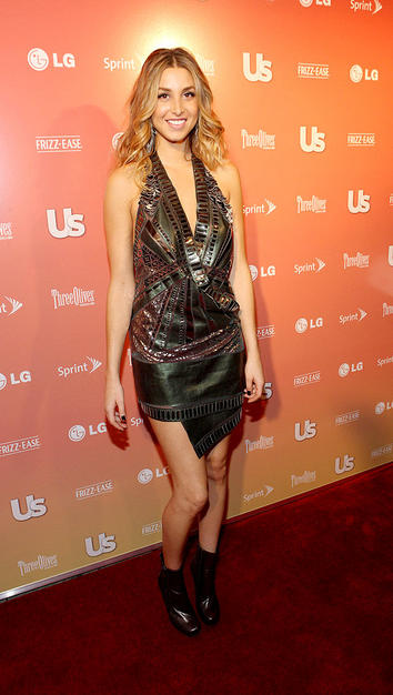 "Budding fashionista/""City"" star Whitney Port rocked an interesting cocktail frock and patent leather ankle booties."